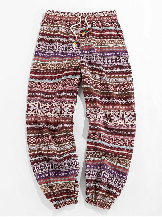 chic ZAFUL Fair Isle Print Drawstring Casual Pants - DEEP COFFEE 2XL