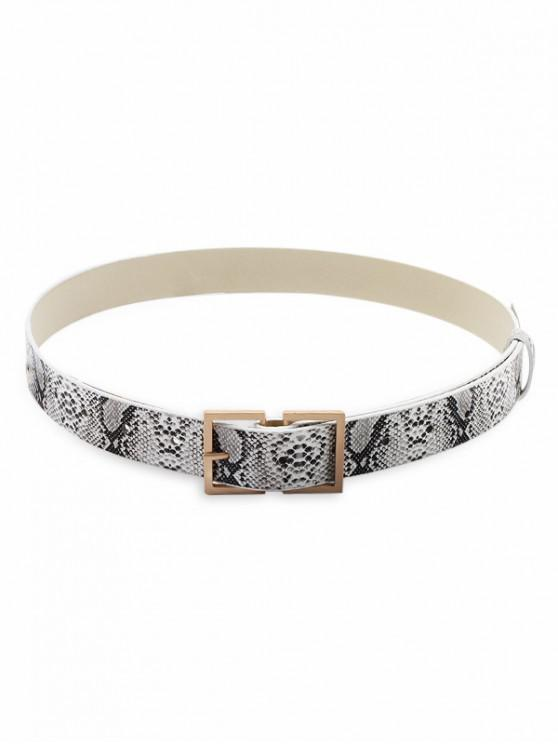 Snake Print Square Buckle Leather Belt - متعدد