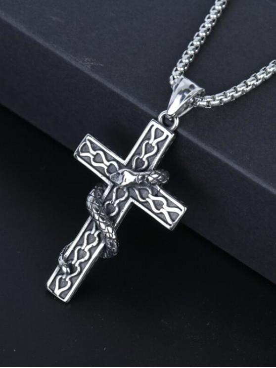 Snake Wrapped Cross Pendant Necklace - جونميتال