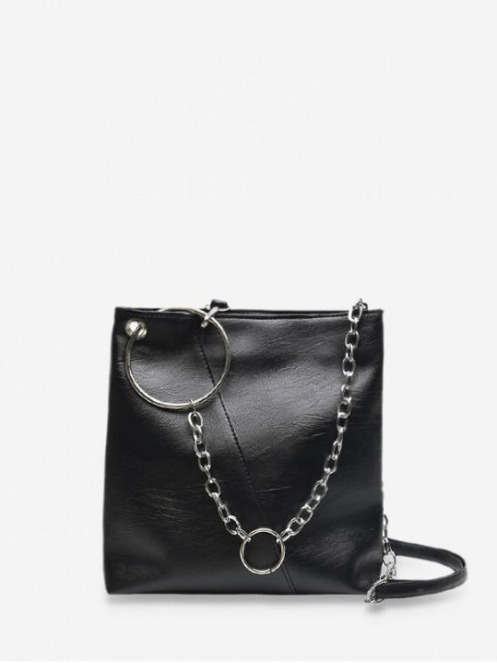 new O-ring Chain Leather Crossbody Bag - BLACK