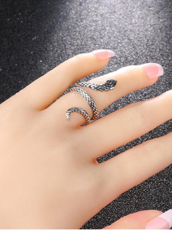 women Carved Snake Wrap Silver Plated Ring - GUNMETAL