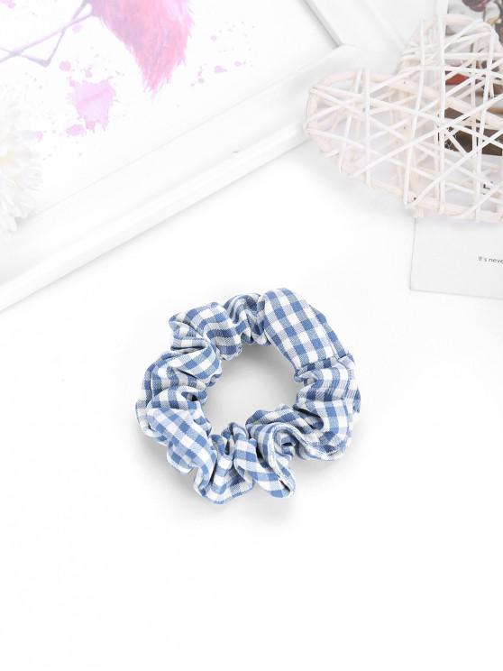 womens Plaid Pattern Stretch Fabric Scrunchy - JEANS BLUE