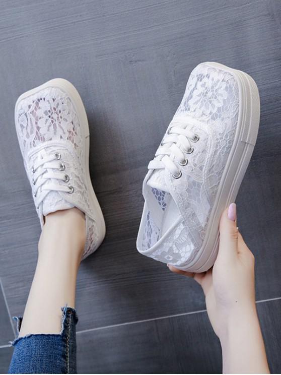 ladies Floral Lace Mesh Lace Up Shoes - WHITE EU 38