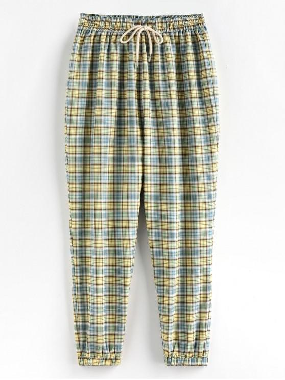trendy ZAFUL Plaid High Waisted Drawstring Jogger Pants - LIGHT GREEN M