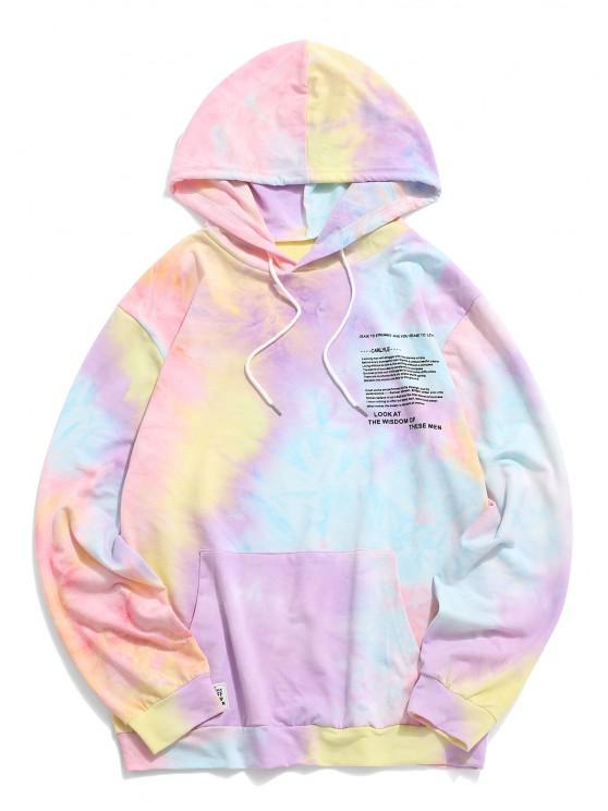 shop Tie Dye Print Letter Applique Graphic Hoodie - LIGHT PURPLE S
