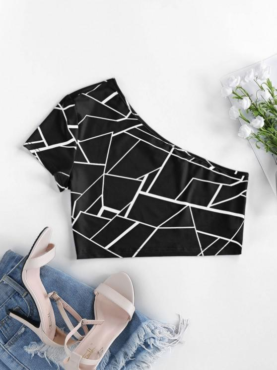 latest ZAFUL One Shoulder Geo Print Crop Top - BLACK M