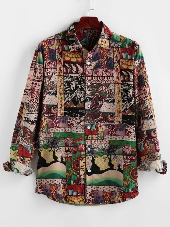 ZAFUL Flower Patchwork Print Button Up Shirt - متعدد S