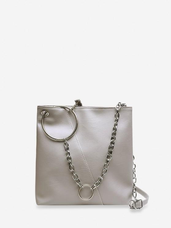 ladies O-ring Chain Leather Crossbody Bag - LIGHT GRAY