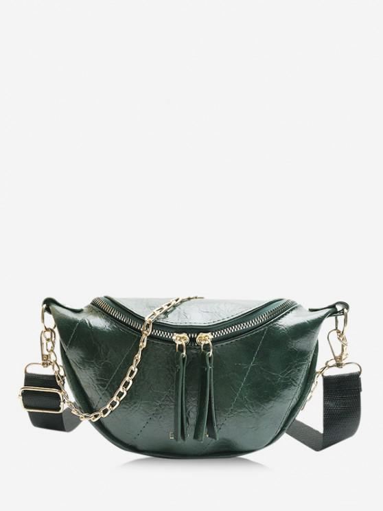 online Chain Embellished Crinkle Leather Chest Bag - DEEP GREEN