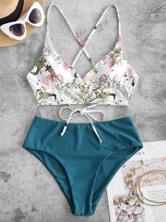 outfits ZAFUL Plant Print Crisscross Surplice Tankini Swimwear - DEEP GREEN M