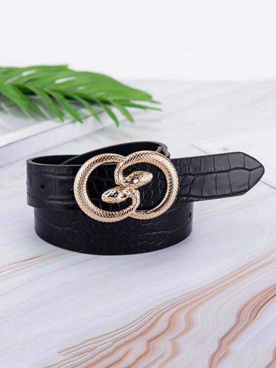 women's Animal Embossed Leather Snake Buckle Belt - BLACK