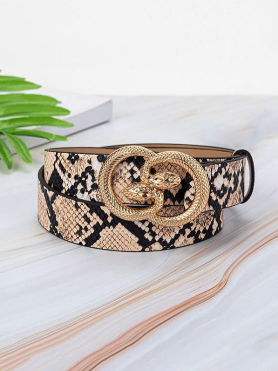 Animal Embossed Leather Snake Buckle Belt - متعدد