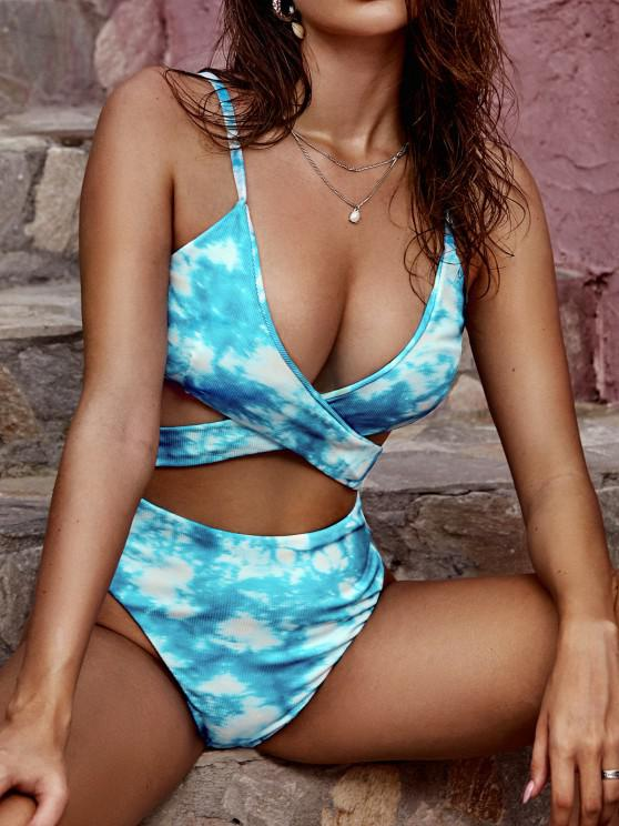 online ZAFUL Tie Dye Ribbed Criss Cross Cutout One-piece Swimsuit - LIGHT BLUE L