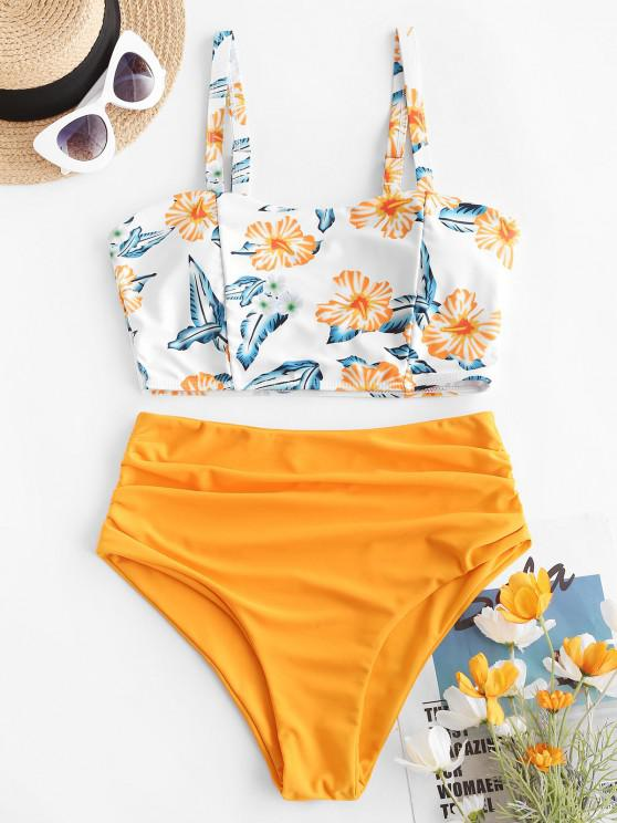 lady ZAFUL Flower Print Ruched High Cut Tankini Swimwear - YELLOW S