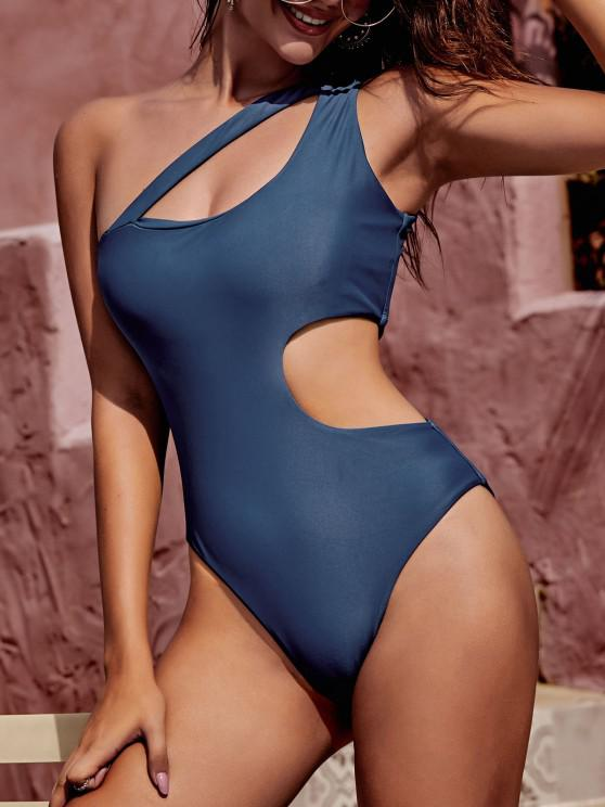 ZAFUL Asymmetrical Cutout One Shoulder One-piece Swimsuit - أزرق S