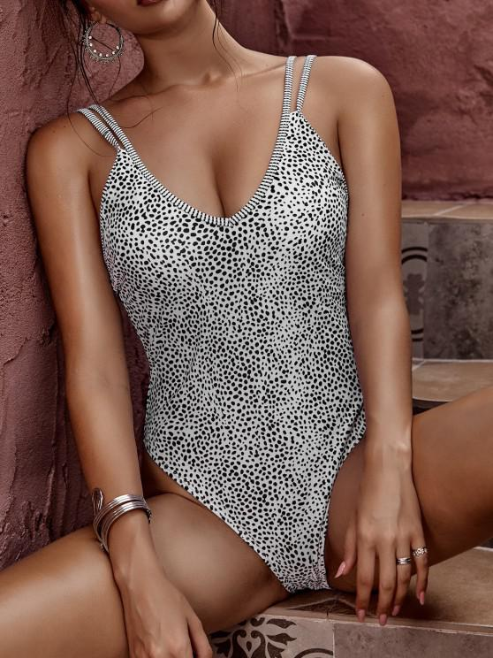 ZAFUL Animal Print High Cut One-piece Swimsuit - أبيض XL