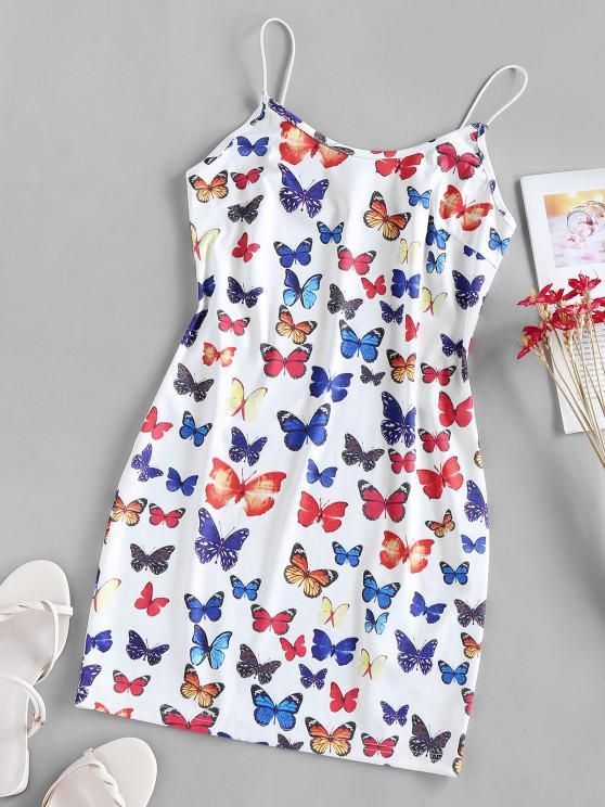 ladies ZAFUL Cami Butterfly Print Backless Bodycon Dress - WHITE XL