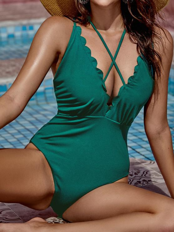 ZAFUL Textured Scalloped Backless Strappy One-piece Swimsuit - متوسطة البحر الخضراء S