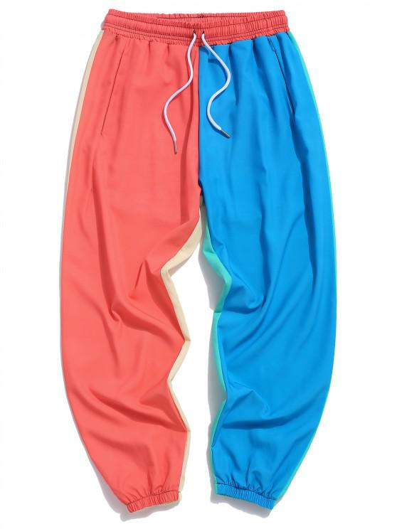 Color Blocking Panel Elastic Waist Pants - متعددة-B S