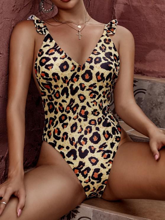 ZAFUL Reversibeler Leopard Dalmatinischem Herz Valentinstag Einteiliger Badebekleidung - Licht Kaffee S