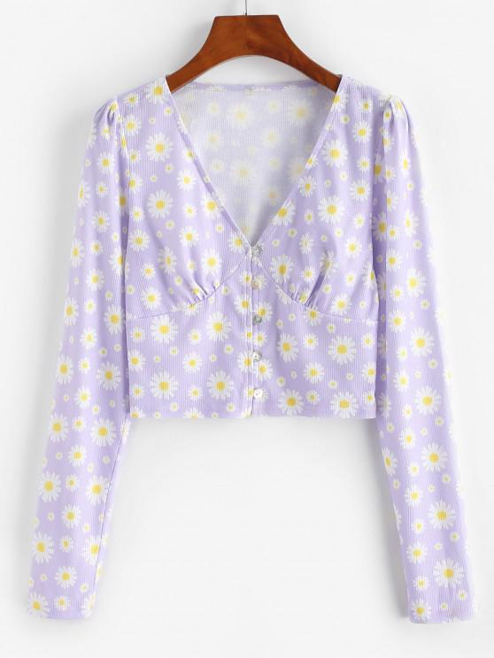 best ZAFUL Daisy Print Plunge Crop T Shirt - MAUVE M