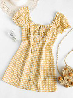 ZAFUL Buttoned Smocked Gingham Sheath Dress - Goldenrod M