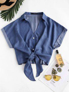 ZAFUL Daisy Floral Chambray Knot Cuff Sleeve Blouse - Deep Blue S