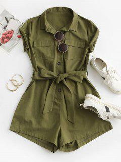 Belted Pockets Solid Cargo Romper - Green M