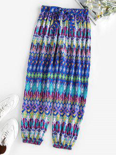ZAFUL Belted Ethnic Geo Print Elastic Cuff Pants - Blue S