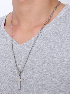 Cruz Colgante Collar De Acero Inoxidable - Plata