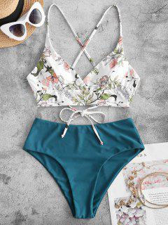 ZAFUL Plant Print Crisscross Surplice Tankini Swimwear - Deep Green M