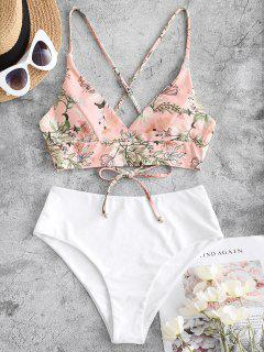 ZAFUL Plant Print Crisscross Surplice Tankini Swimwear - White M