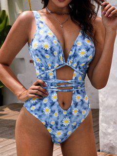 ZAFUL Daisy Print Cutout Plunging One-piece Swimsuit - Light Blue L