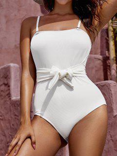 ZAFUL Waist Knot Ribbed One-piece Swimsuit - White M