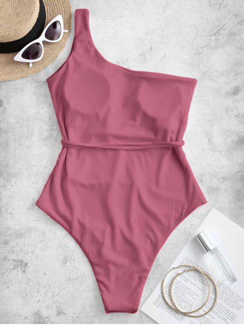 women ZAFUL One Shoulder Belt Ribbed One-piece Swimsuit - LIGHT PINK M Mobile
