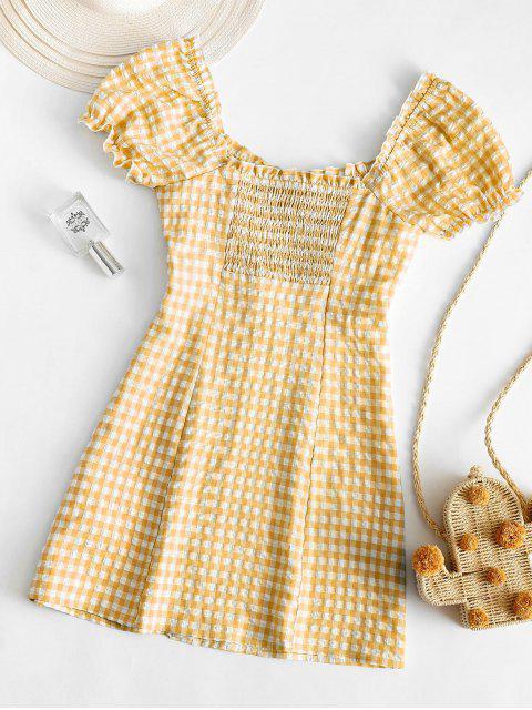 ZAFUL Buttoned Smocked Gingham Sheath Dress - قضبان ذهبية M Mobile
