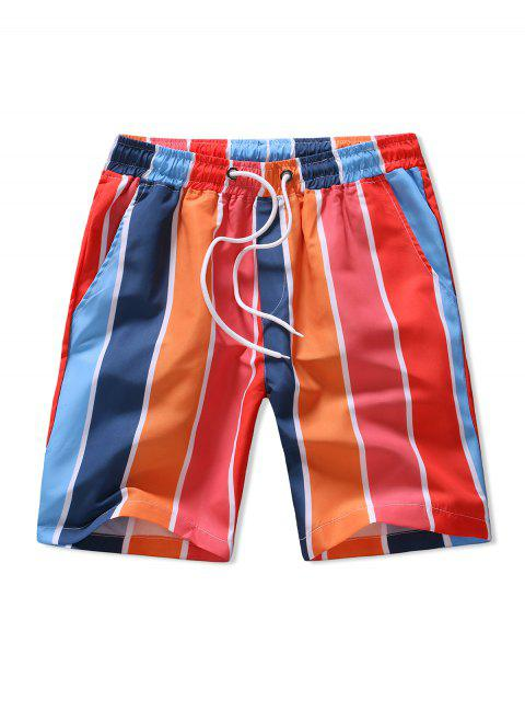 womens Colorblock Stripes Pattern Board Shorts - MULTI L Mobile
