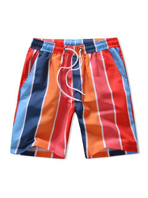 women's Colorblock Stripes Pattern Board Shorts - MULTI 2XL Mobile