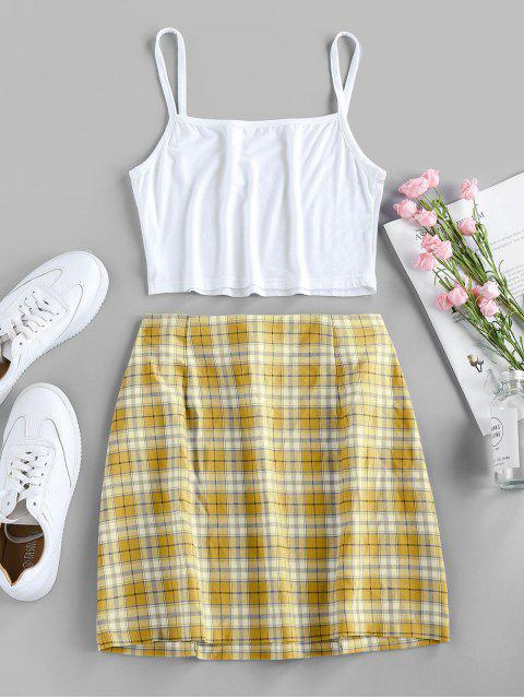 outfit ZAFUL Butterfly Embroidered Crop Camisole and Plaid Slit Skirt Set - SUN YELLOW L Mobile