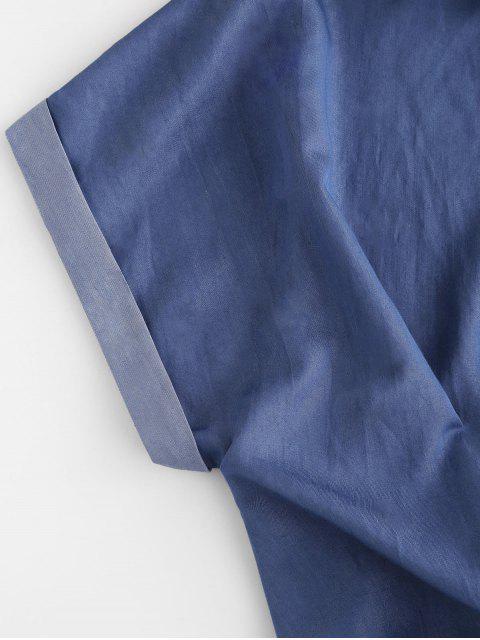 ZAFUL Blusa de Chambray com Manga de Margarida - Azul Escuro S Mobile