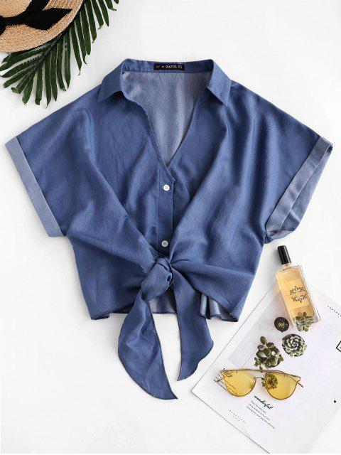 trendy ZAFUL Daisy Floral Chambray Knot Cuff Sleeve Blouse - DEEP BLUE S Mobile