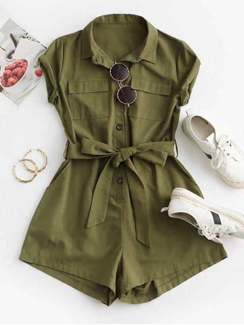 latest Belted Pockets Solid Cargo Romper - GREEN L Mobile