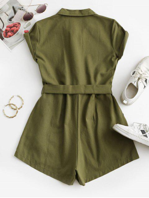 Belted Pockets Solid Cargo Romper - أخضر XL Mobile