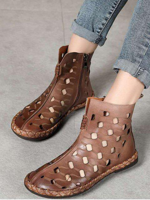 latest Hollow Out Leather Ankle Flat Boots - COFFEE EU 38 Mobile
