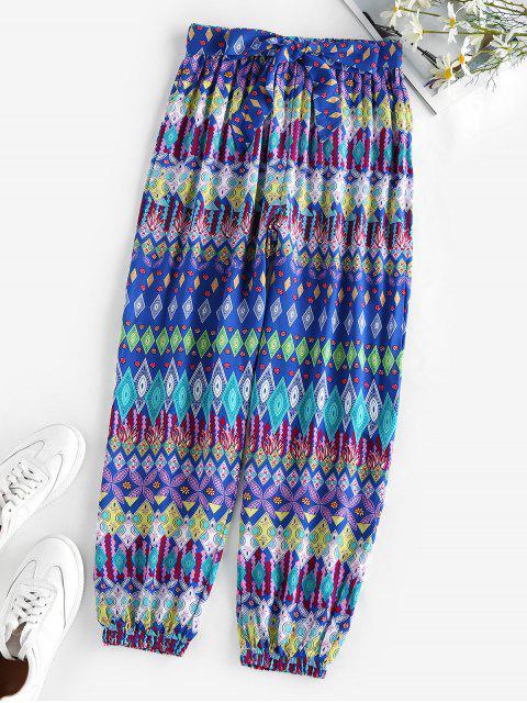 ZAFUL Pantalones Diseño Impreso Geo Elástico - Azul S Mobile