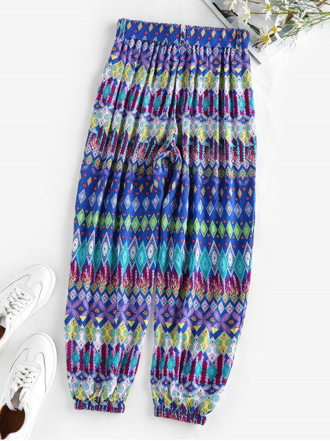 chic ZAFUL Belted Ethnic Geo Print Elastic Cuff Pants - BLUE L Mobile