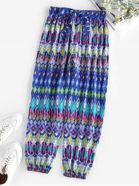 new ZAFUL Belted Ethnic Geo Print Elastic Cuff Pants - BLUE M Mobile