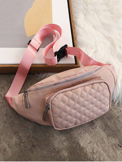 women Quilted Leather Adjustable Chest Crossbody Bag - LIGHT PINK  Mobile