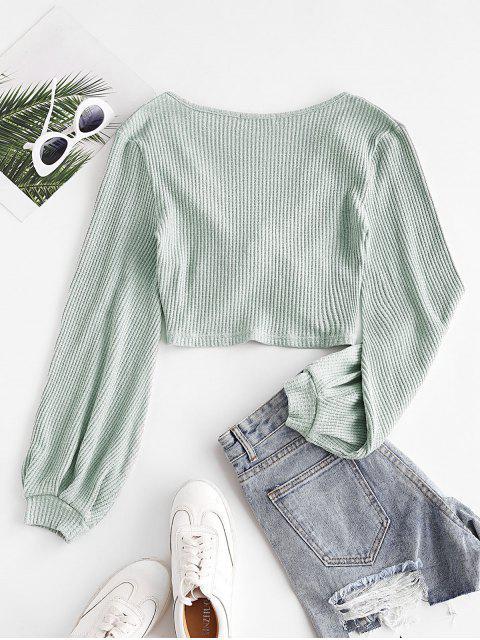 Voluminöse Sleeve Twist-Front Geerntete Knitwear - Grün XL Mobile