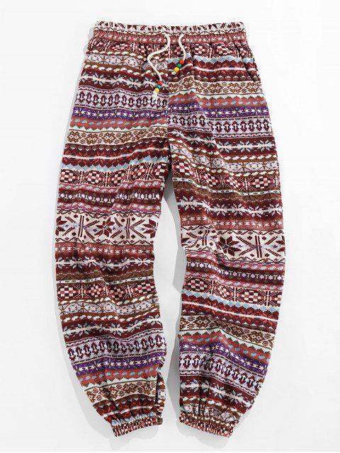 ZAFUL Pantalones Casuales de Impreso Isle con Cordón - Café Profundo XL Mobile